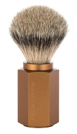 HEXAGON Silvertip Shaving Brush Anodised aluminum bronze