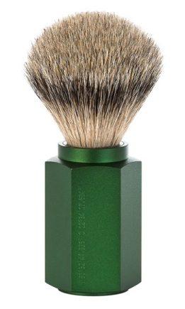 HEXAGON Silvertip Shaving Brush Anodised aluminum forest