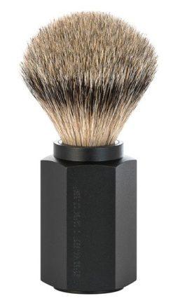 HEXAGON Silvertip Shaving Brush Anodised aluminum graphite