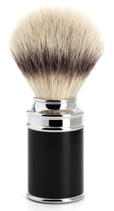 Syntetisk Rakborste Resin Black Chrome Silvertip Fibre - M