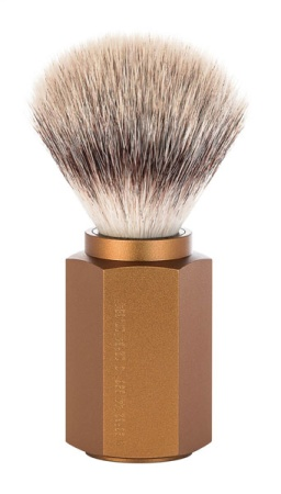 HEXAGON Silvertip Fibre Shaving Brush Anodised aluminum bronze